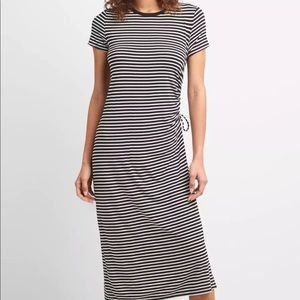 GAP ruched black and white stripe T-shirt dress